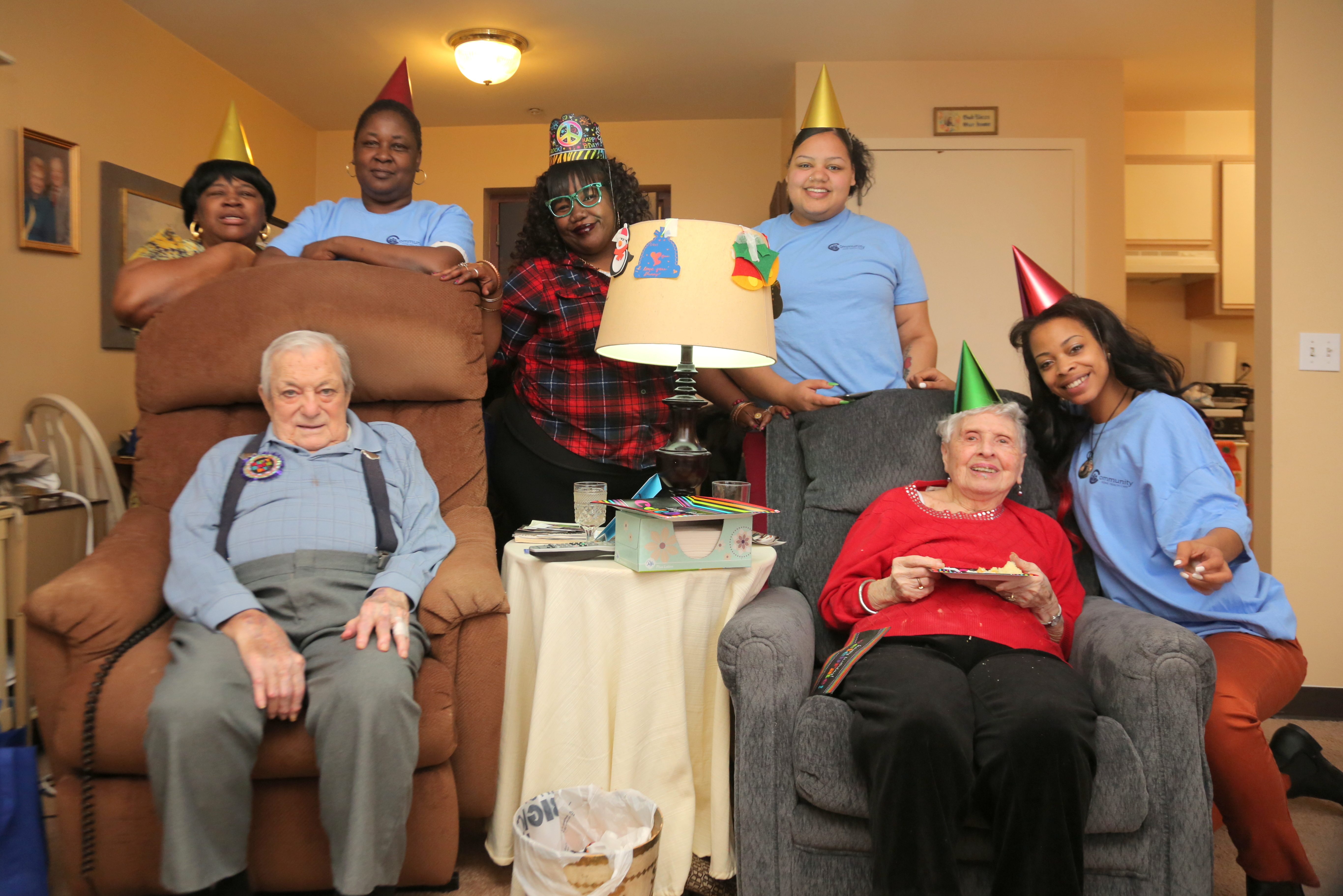 Dan Moracarco, a World War II Air Force Veteran, celebrated his 98th birthday with his home health care aides from Community Home Health Care