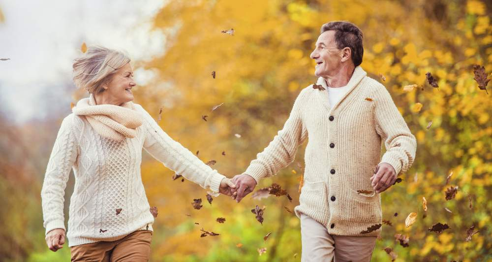Active happy seniors having fun in nature living long healthy life