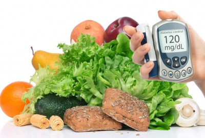 Diabetes concept measure with fruits and vegetables in background ensuring a healthy lifestyle